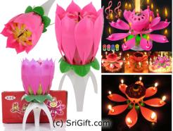 Birthday Candle Romantic Decoration Lotus Flower Magic Blossom Musical